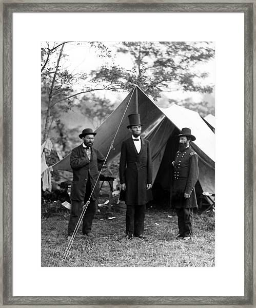President Lincoln Meets With Generals After Victory At Antietam Framed Print