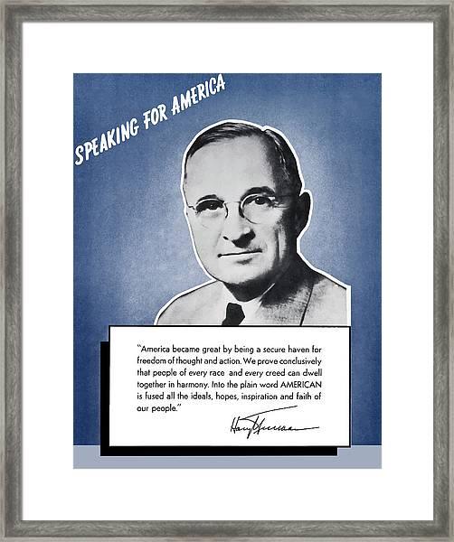 President Truman Speaking For America Framed Print