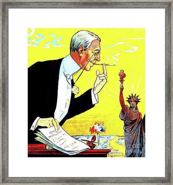 President Woodrow Wilson And The 15th Proposition For The League Of Nations Framed Print