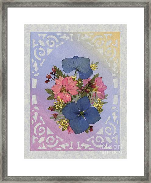 Pressed Flowers Arrangement With Pink Larkspur And Hydrangea Framed Print