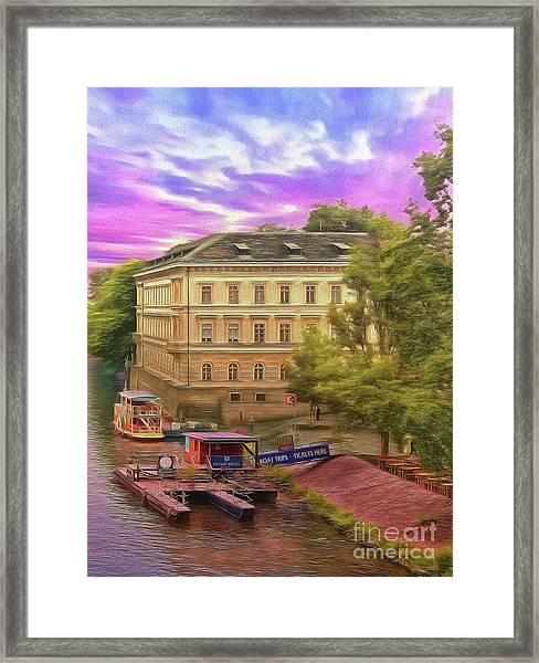 Pretty On The River - Prague Framed Print