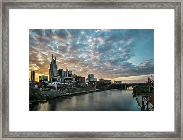 Pretty Sky And Nashville Skyline Framed Print
