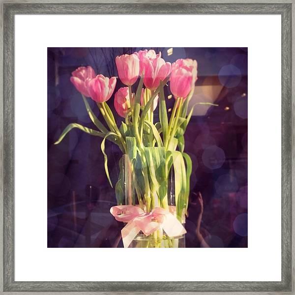 Pretty #tulip #flower #arrangement I Framed Print