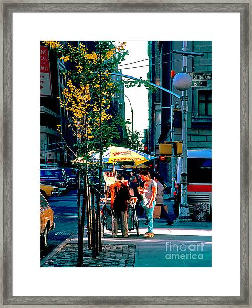 Hot Dog Stand Nyc Late Afternoon Ik Framed Print