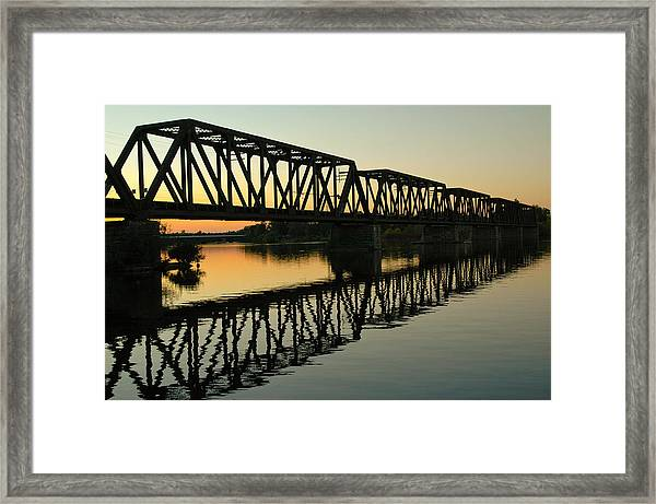 Prince Of Wales Bridge At Sunset. Framed Print