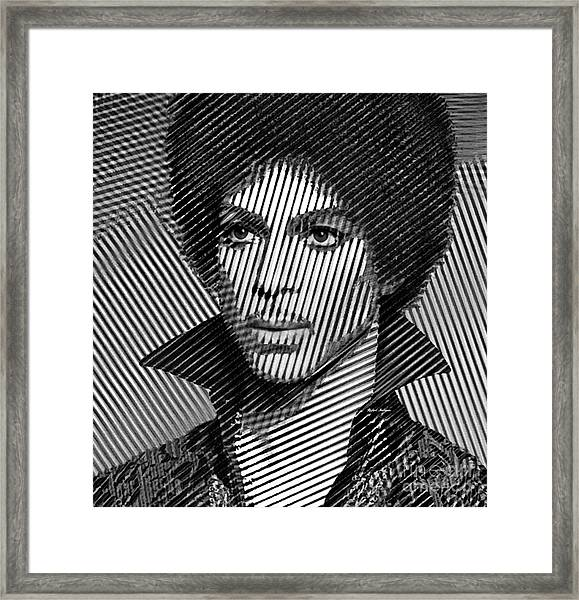 Prince - Tribute In Black And White Sketch Framed Print