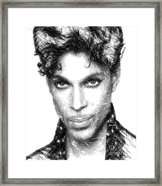 Prince - Tribute Sketch In Black And White Framed Print