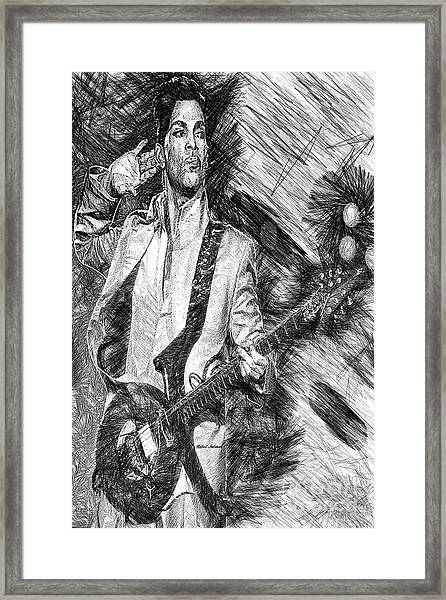 Prince - Tribute With Guitar In Black And White Framed Print