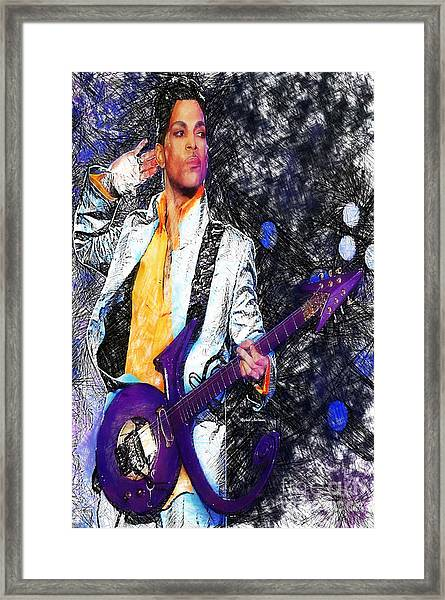 Prince - Tribute With Guitar Framed Print