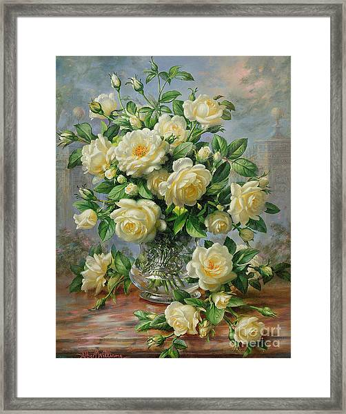 Princess Diana Roses In A Cut Glass Vase Framed Print