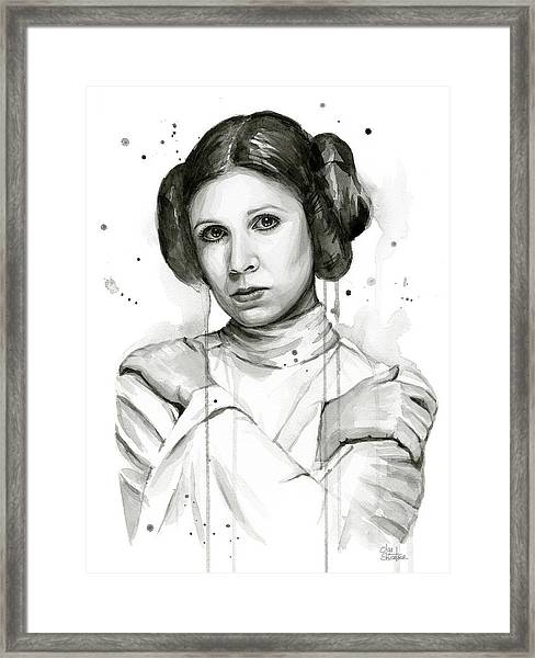 Princess Leia Portrait Carrie Fisher Art Framed Print