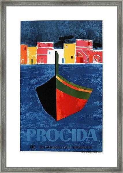 Procida - Naples, Italy - Boat - Retro Travel Poster - Vintage Poster Framed Print
