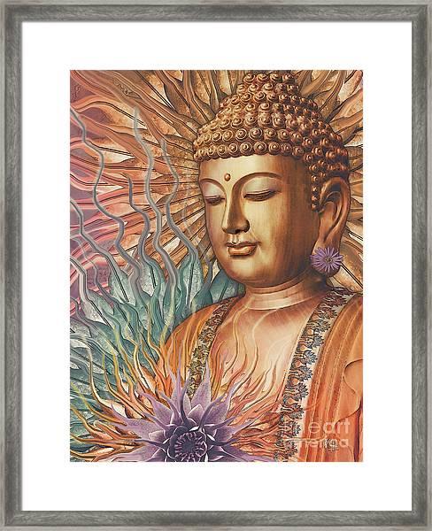 Proliferation Of Peace - Buddha Art By Christopher Beikmann Framed Print