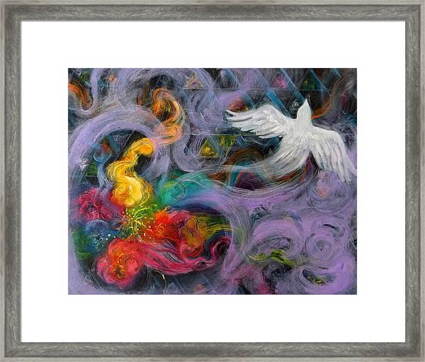 Prophetic Message Sketch Painting 10 Divine Pattern Dove Framed Print