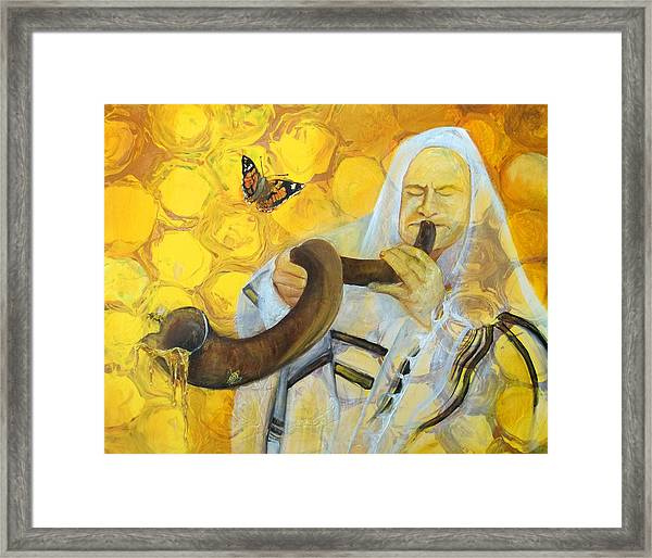 Prophetic Message Sketch Painting 9 Honey Dripping From The Shofar Framed Print