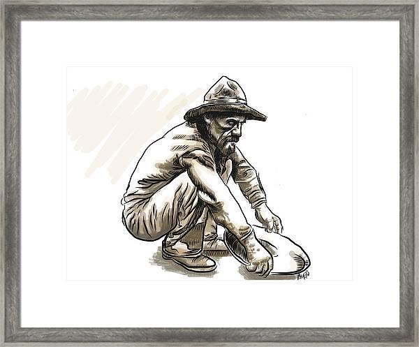 Framed Print featuring the digital art Prospector by Antonio Romero