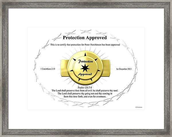 Protection Approved Framed Print
