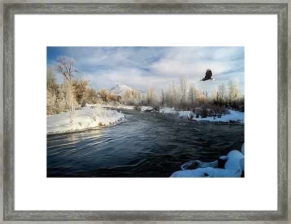Provo River In Winter Framed Print