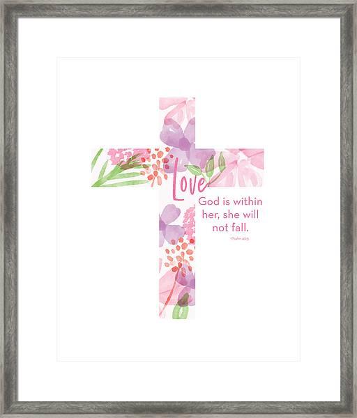 Psalm 46 5 Cross- Art By Linda Woods Framed Print