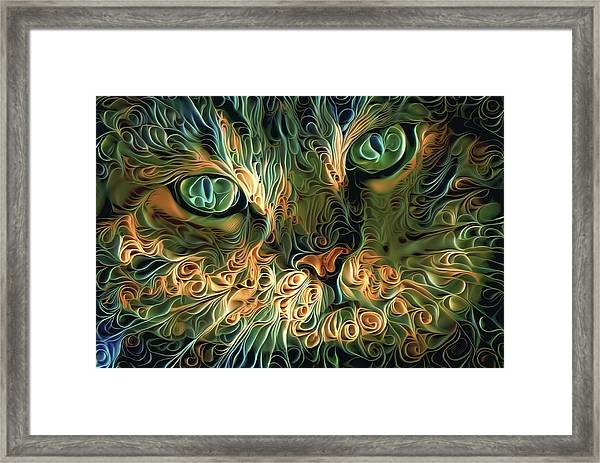 Psychedelic Tabby Cat Art Framed Print