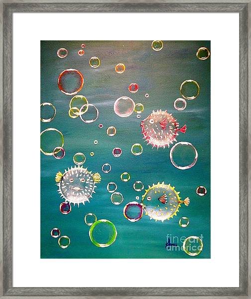Puffer Fish Bubbles Framed Print
