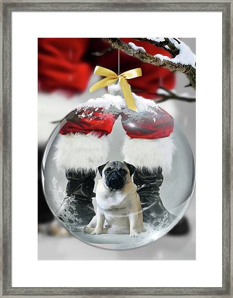 Pug And Santa Framed Print
