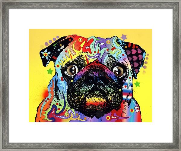Pug Framed Print by Dean Russo Art