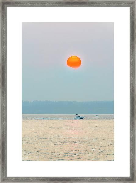 Puget Sound Under The Heavy Smoke Framed Print