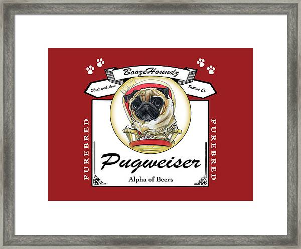Pugweiser Beer Framed Print