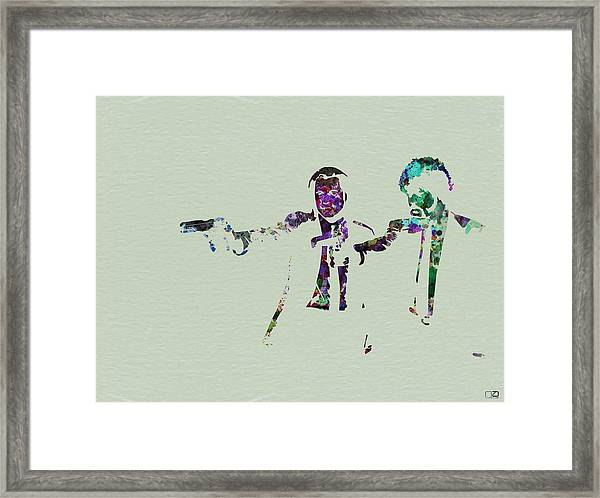 Pulp Fiction Watercolor Framed Print