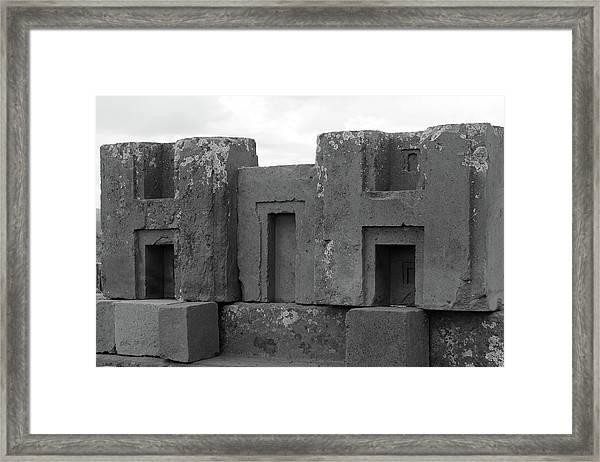 Puma Punku H Blocks, Bolivia Framed Print