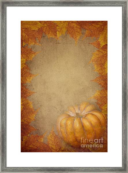 Pumpkin And Maple Leaves Framed Print