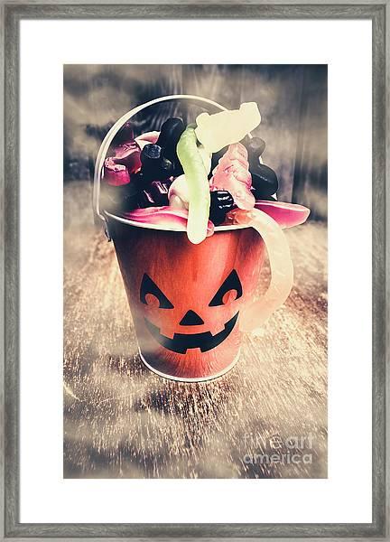 Pumpkin Head In A Misty Halloween Scene Framed Print