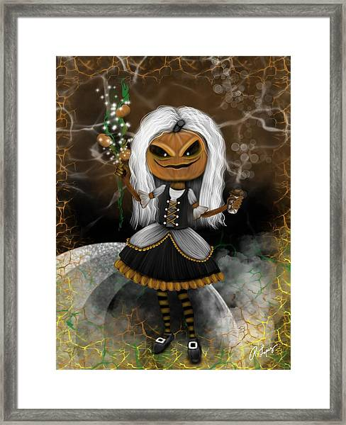 Pumpkin Spice Latte Monster Fantasy Art Framed Print