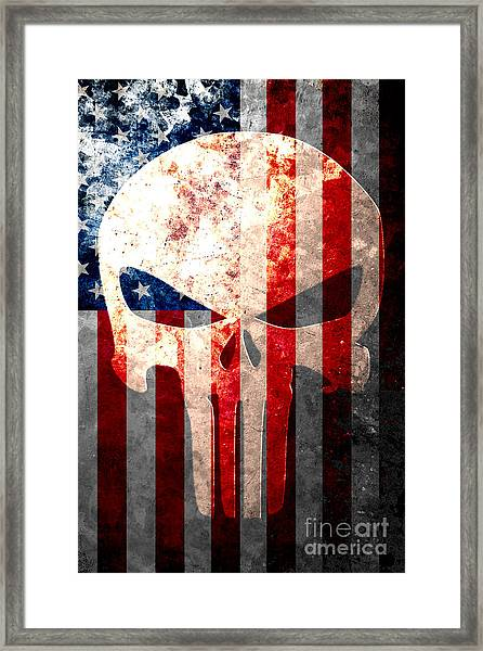 Punisher Themed Skull And American Flag On Distressed Metal Sheet Framed Print
