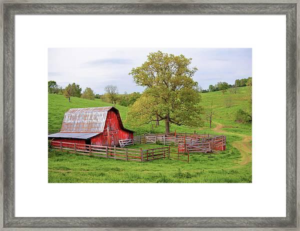 Pure Arkansas - Red Barn Framed Print