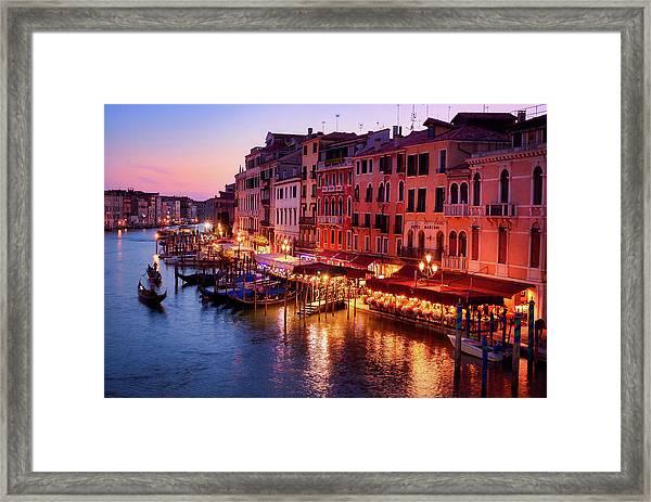 Cityscape From The Rialto In Venice, Italy Framed Print