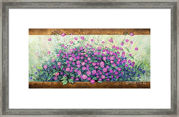 Purple And Pink Flowers Framed Print