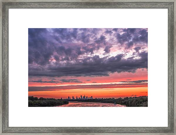 Purple And Red Sky Over Warsaw And Vistula River Framed Print