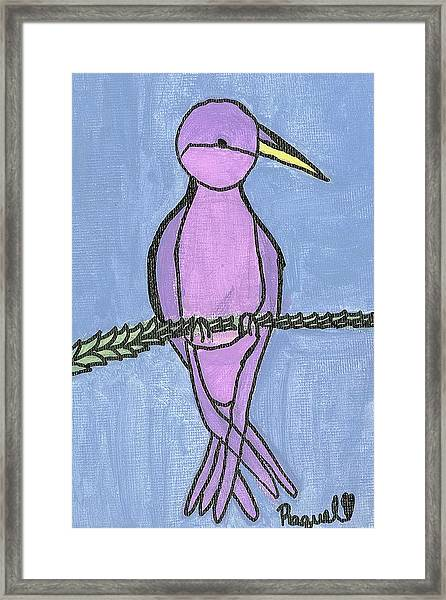 Purple Bird Perched Framed Print by Fred Hanna
