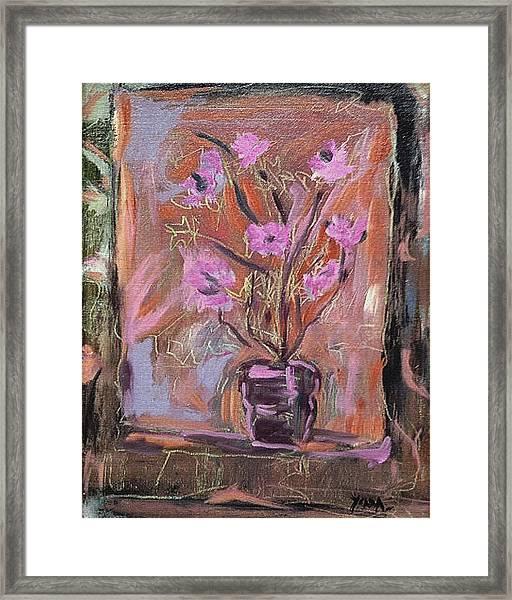 Purple Flowers In Vase Framed Print
