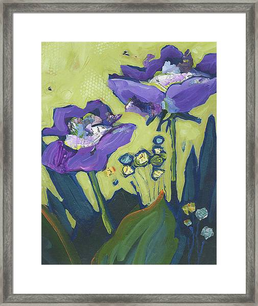 Framed Print featuring the painting Purple Flowers by Shelli Walters