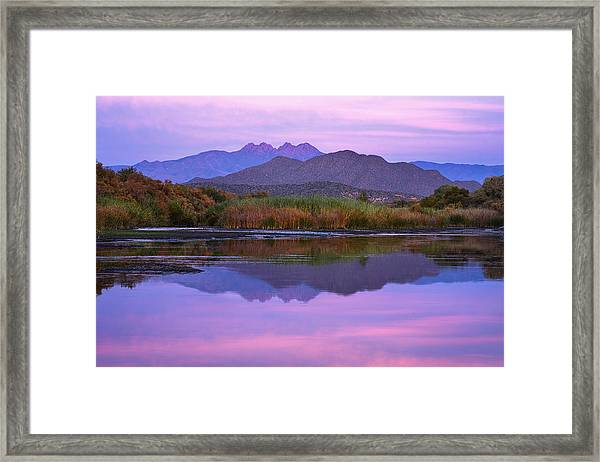 Purple Four Peaks Reflections Framed Print