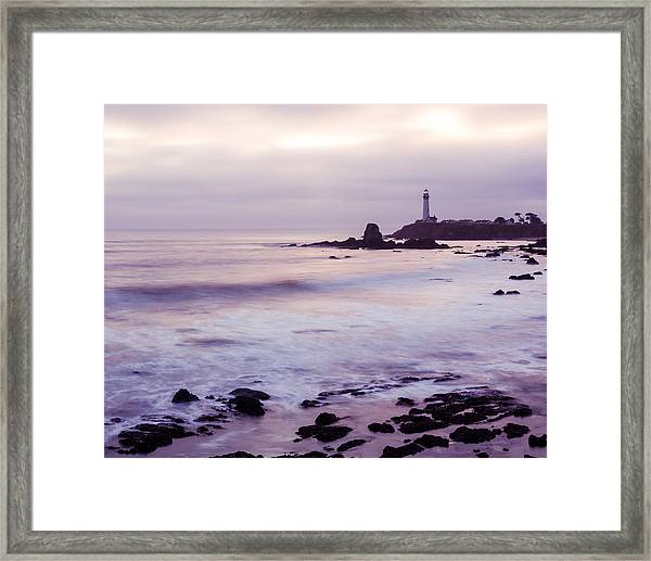 Framed Print featuring the photograph Purple Glow At Pigeon Point Lighthouse Alternate Crop by Priya Ghose