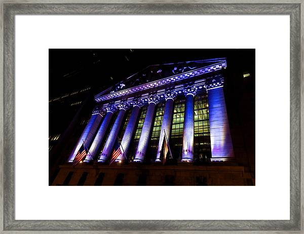 Purple New York Stock Exchange At Night - Impressions Of Manhattan Framed Print