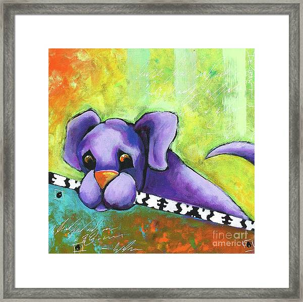 Purple Pup Framed Print