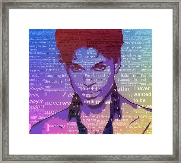 Purple Rain Typography Framed Print