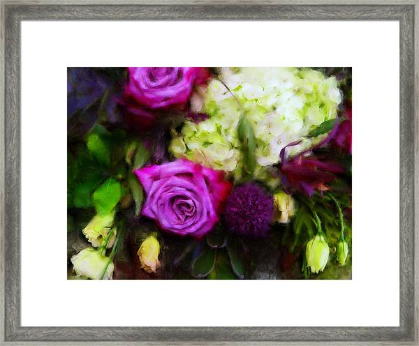 Purple Roses With Hydrangea Framed Print