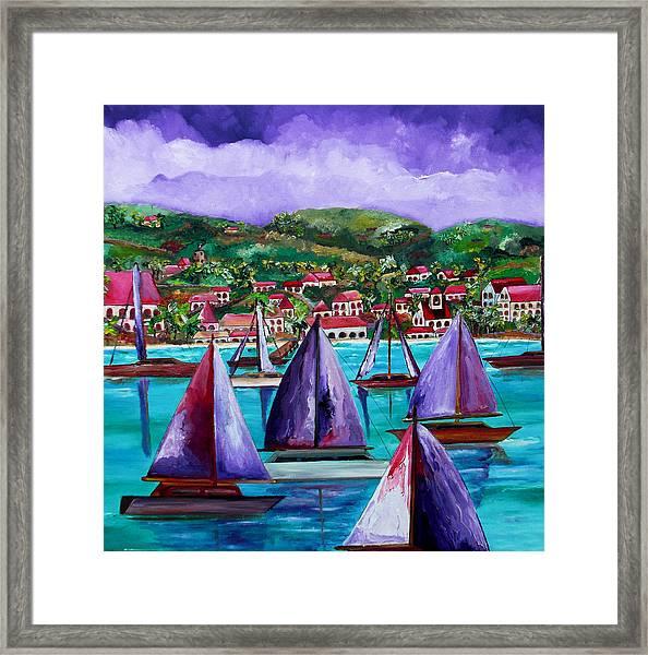 Purple Skies Over St. John Framed Print