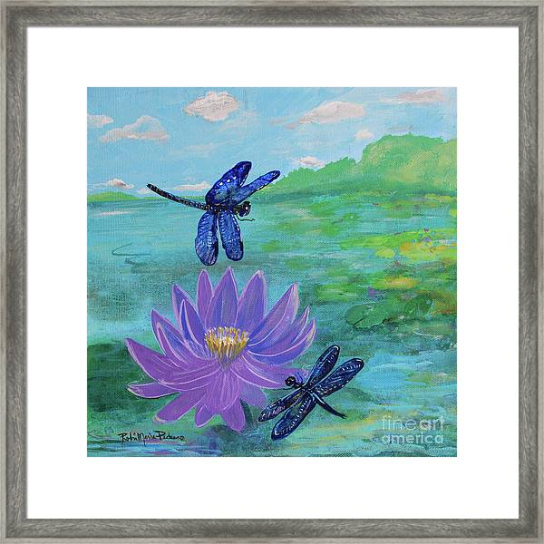 Purple Water Lily And Dragonflies Framed Print